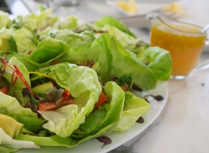 Boston Lettuce & Microgreen Salad with Grapefruit, Avocado and Quinoa Praline