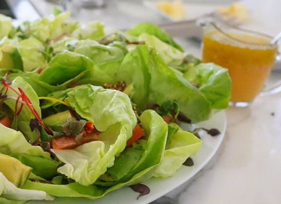 Recipe: Abbey's Boston Lettuce & Microgreen Salad with Grapefruit, Avocado and Quinoa Praline