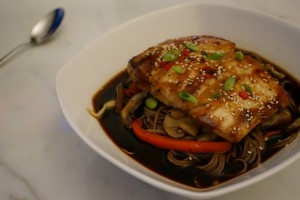 Seared Hoisin Halibut with Umami Soba Noodle Soup