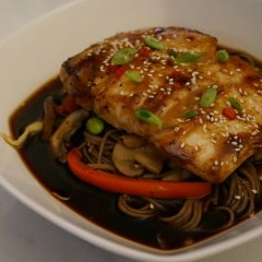 Recipe: Abbey's Seared Hoisin Halibut with Umami Soba Noodle Soup