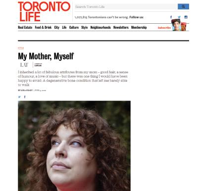 Toronto Life - My Mother, Myself